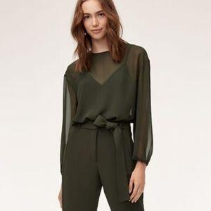 Aritzia Wilfred forest green blouse bodysuit